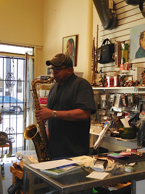 Charles McNeal, jazz saxophonist trying out saxophone at Steve Deutsch Woodwinds