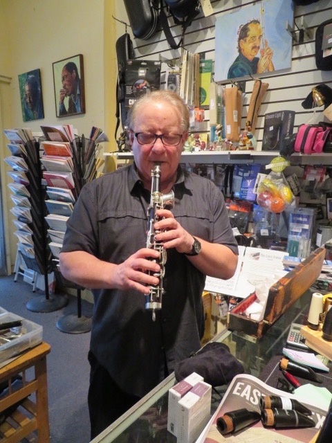 Michael Marcus playing his Octavin at Steve Deutsch Woodwinds in San Francisco Bay Area
