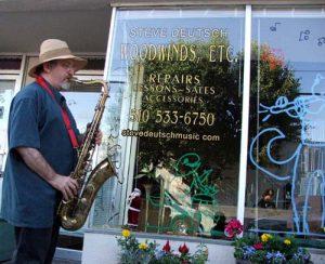 Steve Deutsch outside his woodwind repair shop in Berkeley California