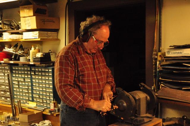 Steve Deutsch doing final touch-up on new haynes flute key.