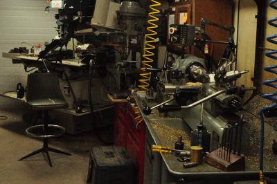 Lathe equipment at Vermont Flute Workshop