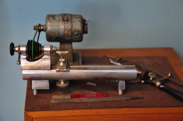 Jewelers or watchmakers lathe for flute repair.