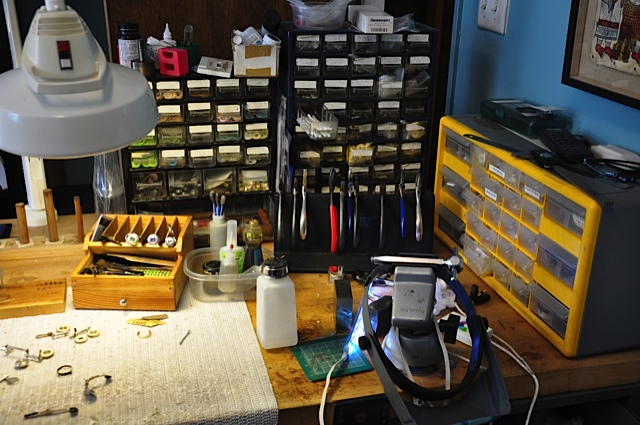 Work bench setup[ at Muramatso Flute Workshop