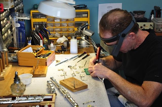 Master FLute Repairtman Pauil Rabinov at work.