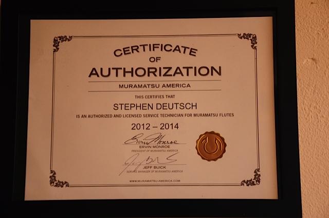 Steve Deutsch Certification as an Authorized and Licensed Technocian for Muramatsu flutes.
