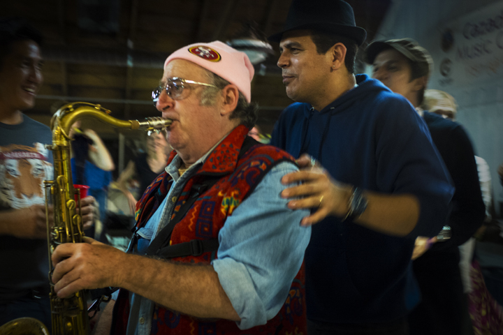 On the last day of California Brazil Camp 2014 there was a party where I played. That's Spok, who lead the frevo big band on my right, and dancer's who danced around me while I played.