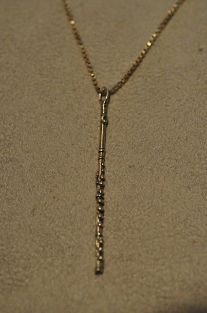 Flute necklace with chain by Willow Zarlow $40.00