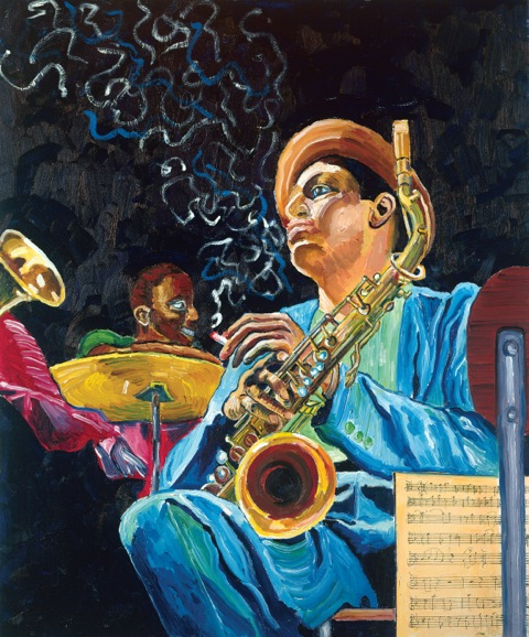Steve Deutsch color version of Dexter Gordon from the famous photo by Herman Leonard.