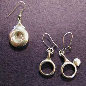 These earings are made from recycled instrument parts in silver plate or sterling.