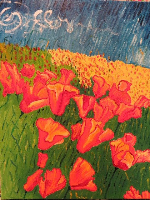 Steve Deutsch Painting - Field of Poppies
